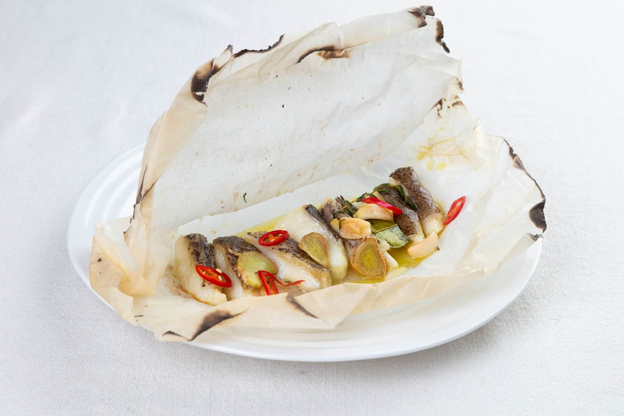 Chilean sea bass backed in parchment